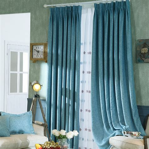 simple blue linen bedroom blackout curtains