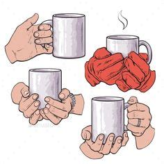 Sharpie mug diy project popsugar smart living. Vector illustrations of hands holding tea cups and coffee mugs. | Drawing cup, How to draw hands ...