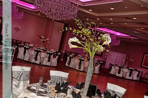 The Crystal Ballroom decorated for an upcoming wedding #