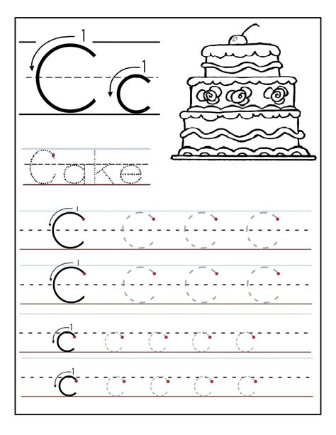 trace the letter c worksheets alphabet and numbers