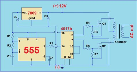 simple 12v to 220v modified sine wave inverter using555 timer ic and cd4017 teaelectronics