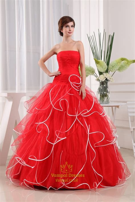 strapless red  white wedding dresses red ball gown
