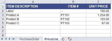 purchase order template  price list