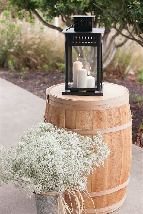 wine barrel candle lantern  babys breath create