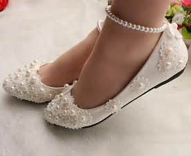 white lace wedding shoes pearls ankle trap bridal flats