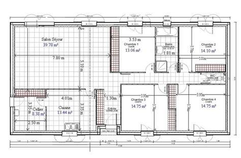 plan de maison plain pied gratuit 4 chambres 1 architecture architecture