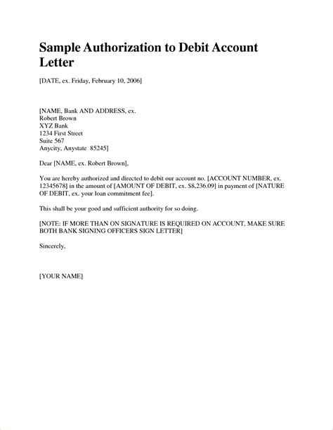 docstoc docs account authorization letter sample