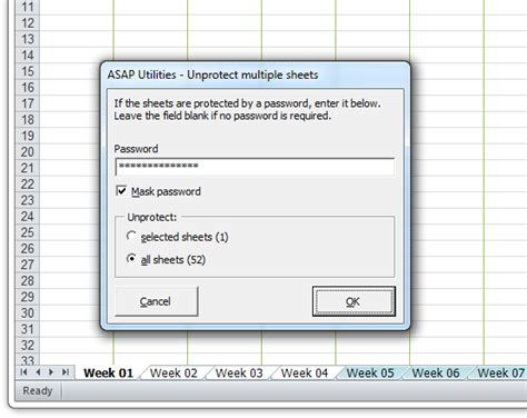 unprotect worksheet asap utilities for excel 187 tip quickly un protect
