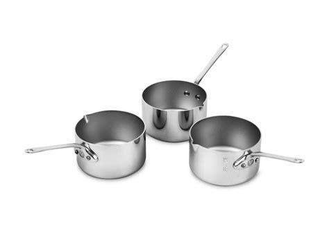 mauviel mcook stainless steel mini saucepan set  piece cutlery