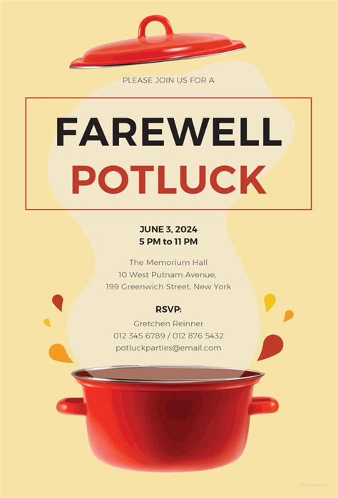 potluck email invitation templates psd ai