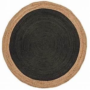 Tapis Rond Design : tapis rond gris fonc en jut tiss la main ~ Teatrodelosmanantiales.com Idées de Décoration