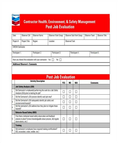 contractor safety performance evaluation form 9 job evaluation form sles free sle exle