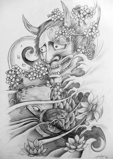 Superb grey-ink oriental demon and koi fish tattoo design