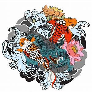 Hand Drawn Dragon And Koi Fish With Flower Tattoo For Arm ...