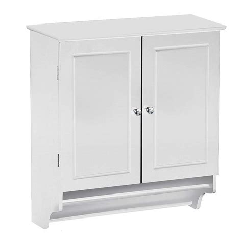 Bathroom Wall Cabinet With Towel Bar by White Bathroom Wall Cabinet With Storage Shelf And Towel