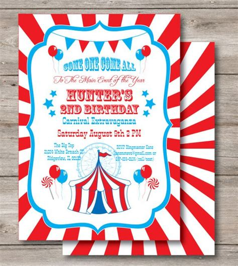 ideas  carnival birthday invitations
