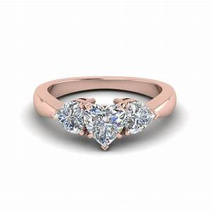 3 heart shaped diamond engagement ring in 14k rose gold With heart shaped wedding rings