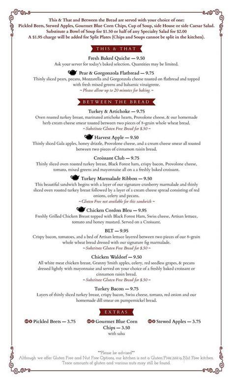 Click on the photo below and download our sample menu. Menu of Greenwood Tea Room in Greenwood, MO 64034