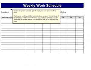 weekly work schedule templates word excel