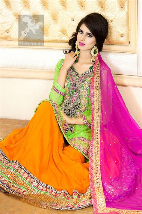 bright green shirt orange lehenga pink dupatta  mehndi