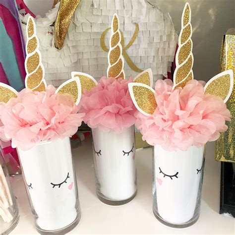 unicorn centerpiece   dollar tree vase