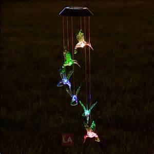 hummingbird solar led light wind chime d 233 cor lighting