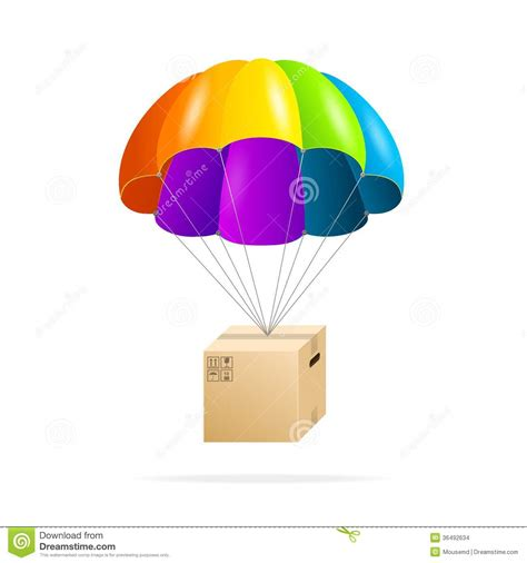 Rainbow Parachute With Cardboard Box On A White Stock