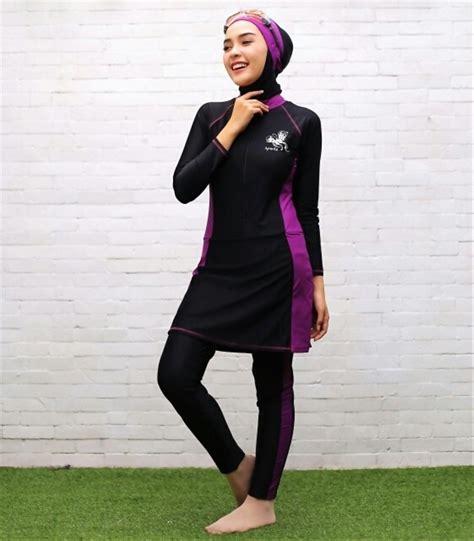 jual harga hemat baju renang muslimah sp03 hitam biru ungu