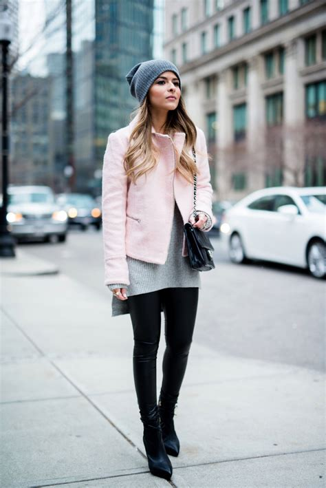 Faux Leather Leggings and Black Booties | Reiss boots Cold weather outfits and Grey beanie