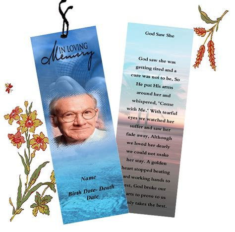funeral bookmarks template templates  funeral bookmarks