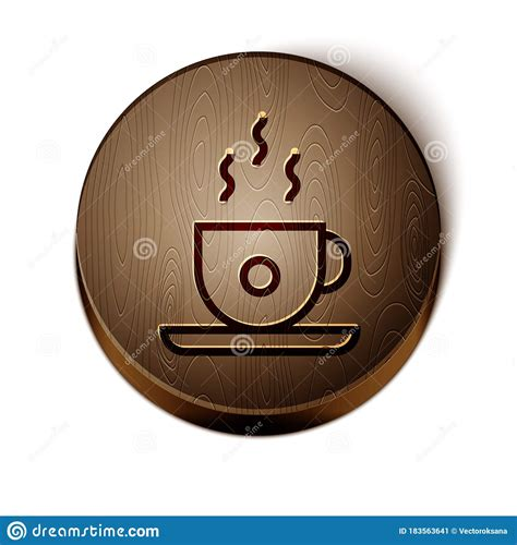 These vector icon designs are available now under a traditional rf license. Brown Line Coffee Cup Icon Isolated On White Background. Tea Cup. Hot Drink Coffee. Wooden ...