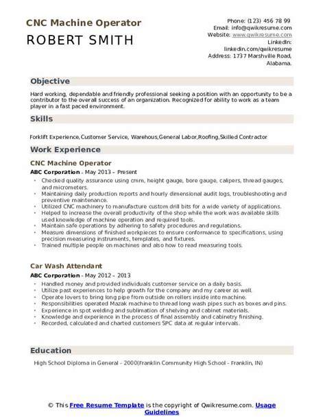 Resume Machine Operator by Cnc Machine Operator Resume Sles Qwikresume