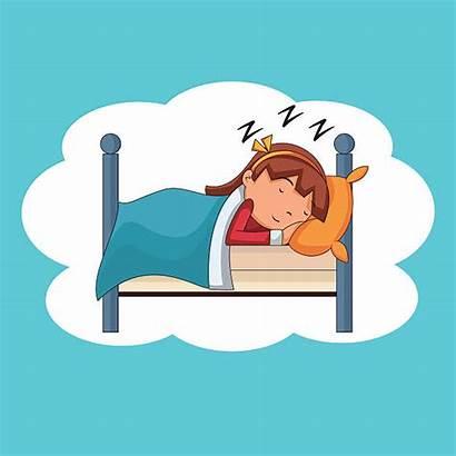 Sleeping Bed Woman Clip Vector Illustrations Illustration