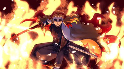 demon slayer kyojuro rengoku jumping  sword  fire hd