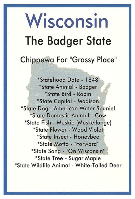 wisconsin facts postcard wisconsin