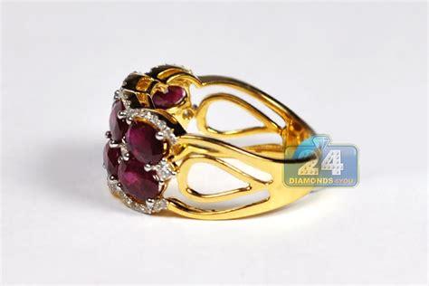 womens diamond burgundy ruby band ring  yellow gold