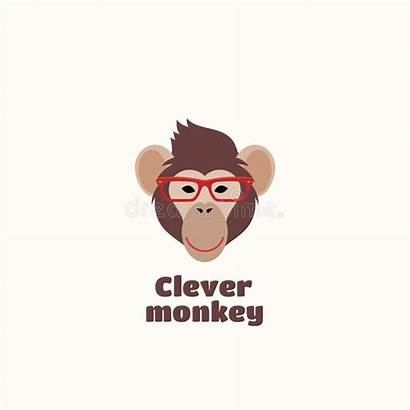 Clever Monkey Vector Illustration Template Computer Monkeys