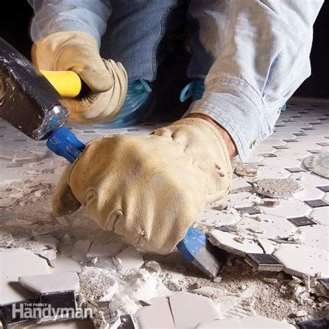remove ceramic tile   concrete floor  family