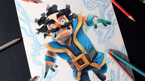dibujando al mago electrico de clash royale   draw