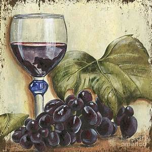 Red Wine And Grape Leaf Painting by Debbie DeWitt