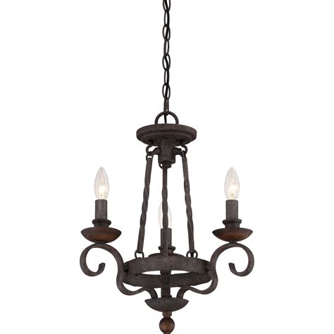 Rustic Chandeliers by Quoizel Noble Rustic Black Three Light Chandelier On Sale