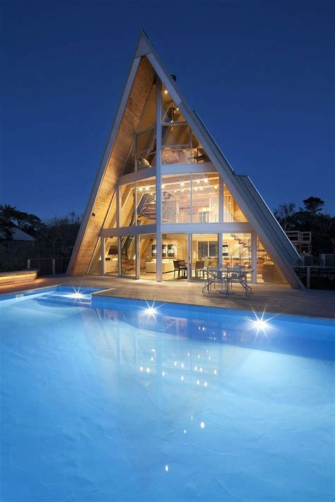 beachfront  frame house  wide open interior