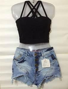 Conjunto Cropped + Short Jeans - R$ 8500 em Mercado Livre