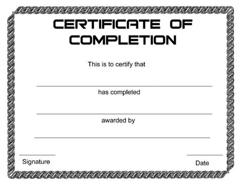 Certificate Of Completion Template Printable Blank Certificate Of Appreciation Recognition