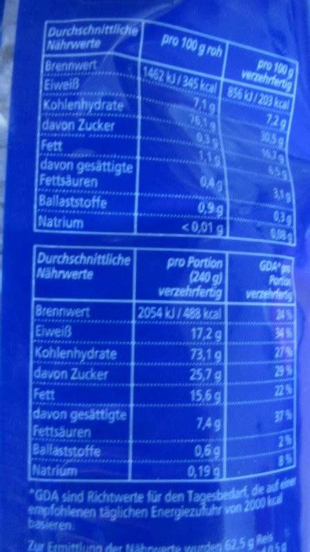 classic kaufland milchreis kalorien naehrwerte