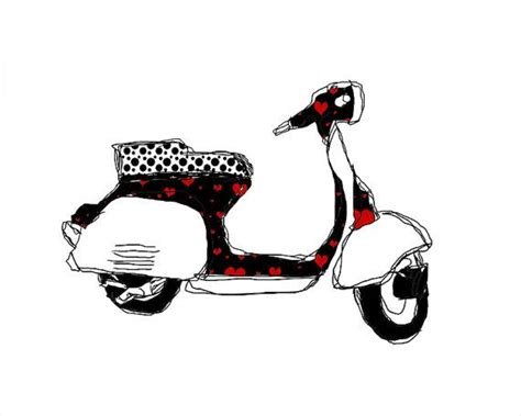 vespa scooter  drawing art instant
