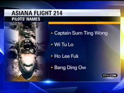Sum Ting Wong Meme - news station reports asiana flight 214 pilots names quot sum ting wong quot quot ho lee fuk quot youtube