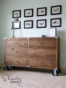 DIY Rustic Wood Rolling Dresser