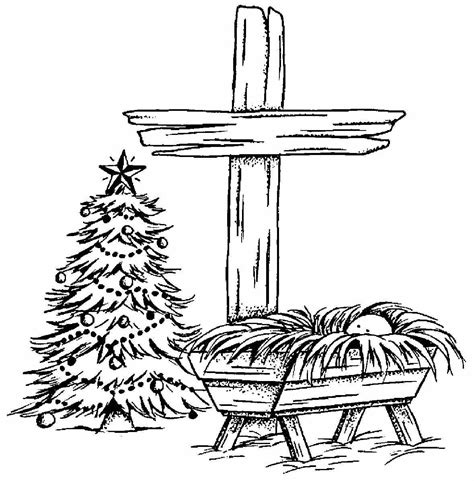 HD wallpapers coloring page of christmas manger scene