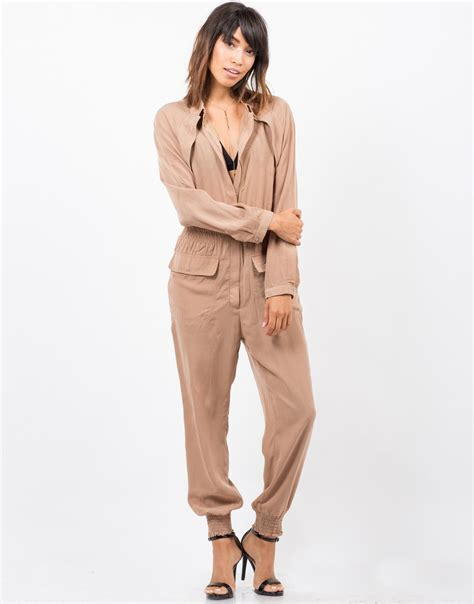utility jumpsuit zipped up utility jumpsuit beige jumpsuit lightweight